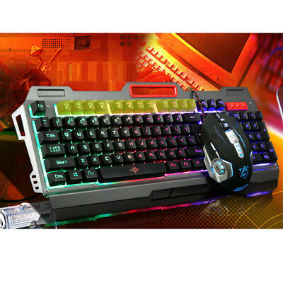 USB Wired Backlit Gaming Keyboard And Programmable Mouse Set Bundle PC Laptop