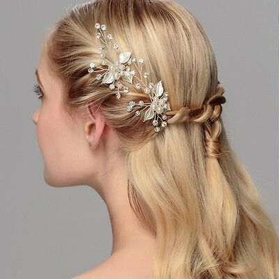 2pcs Wedding Bridal Bridesmaid Pearl Crystal Leaf Headpiece Hair Pin Hairpin
