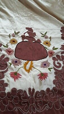 Vintage Hollywood Glam Lady SATIN EMBROIDERED  Bedspread 6pc 1940s 50s