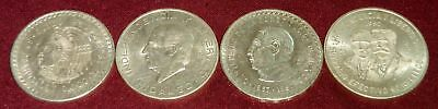 4 Large Mexico .900 Silver Foreign Coins: 1948 5 Pes0; 1956, 1957, 1960 10 Pesos