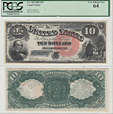 1880 $10 Legal Tender Note F-106 Jack Ass PCGS Very Choice New-64