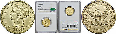 1853 $5 Gold Coin NGC AU-53 CAC