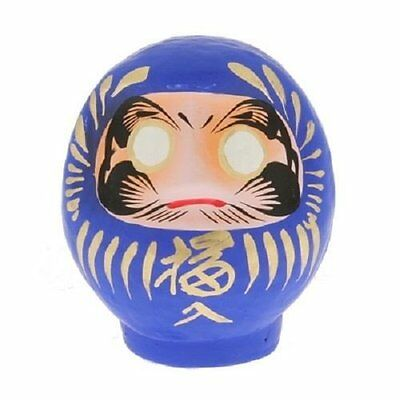 "Japanese 3.75""H Blue Daruma Doll Good Luck Fortune for Achievement Made in Japan"