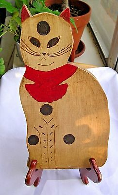 Handmade FOLK ART TABBY/Spotted CAT Painted Wood w/Red bow - Signed & Dated