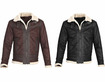 Mens Fur Collar Leather Winter Warm Jacket Coat Casual Lapel Clothing Outwear
