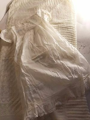Vintage Embroidered Christening Gown And Crocheted Blanket