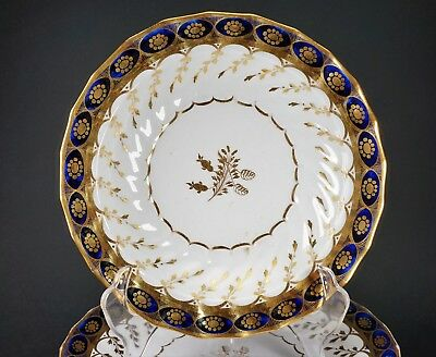 Early Chamberlain Worcester Cobalt and Gold China Set of Four Plates & Two Bowls