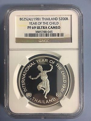 1981 1 oz Silver Year of Child Thailand NGC PF69