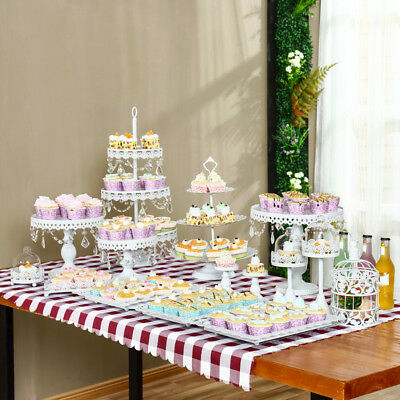 Set of 12 Pieces White Gold Crystal Cake Stand Cupcake Wedding Dessert Candy Bar