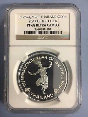 1981 1 oz Silver Year of Child Thailand NGC PF68