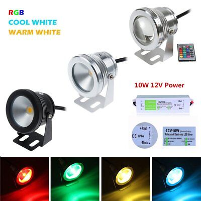 IP65 Waterproof 10W 12V RGB White LED Underwater Light SpotLight Pond Aquarium