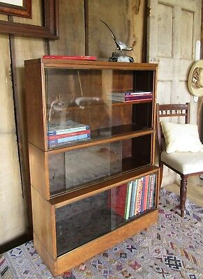 Gunn Early 20th Century Oak Sectional Barristers Bookcase