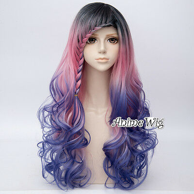Dip Dye 68CM Black Pink Blue Mixed Long Curly Lolita Women Ombre Cosplay Wig