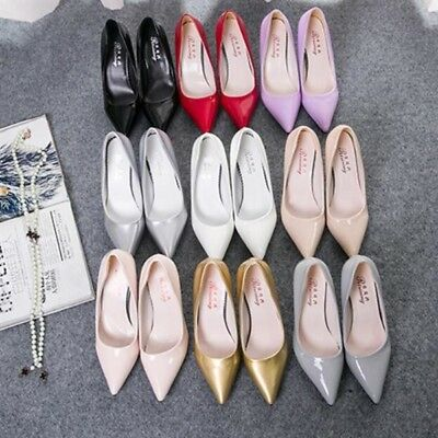 10 Colors Women's High Heels Pointed Toe OL Lady Stilettos Patent Leather Shoes