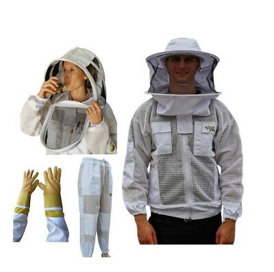 Oz Armour Beekeeping Jacket & Trouser  Suit Three Layers Mesh + Cow Hide Gloves