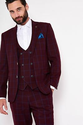 Mens Marc Darcy Designer Wine Windowpane Check Print Blazer Country Style Jacket