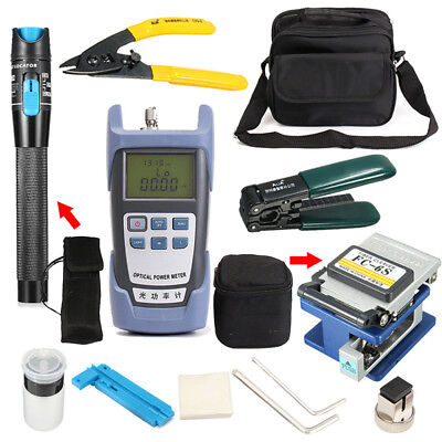 10-in-1 Fiber Optic FTTH Tool Kit Set Power Meter FC-6S Optical Cleaver Finder