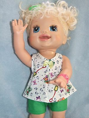 40cm BABY ALIVE Dolls Clothes  / Top~Shorts~Headband / green ~ garden flowers