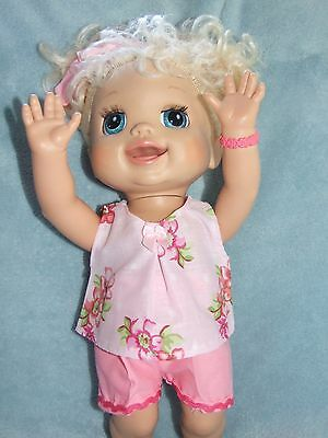 40cm BABY ALIVE Dolls Clothes  / Top~Shorts~Headband / pink ~ pink flowers