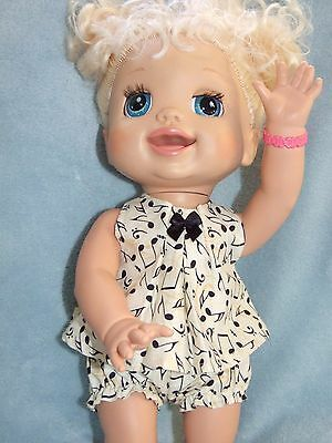 40cm BABY ALIVE Dolls Clothes / Top~Bloomers~Headband / Music Notes