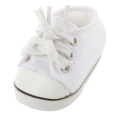 """White Canvas Plimsolls Shoes Flat for 18"""" American Girl Our Generation Doll"""
