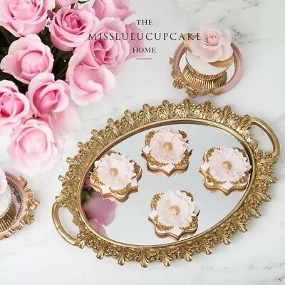 Stunning Distressed Gold Serving Tray With Mirror Home Decor wedding cakestand