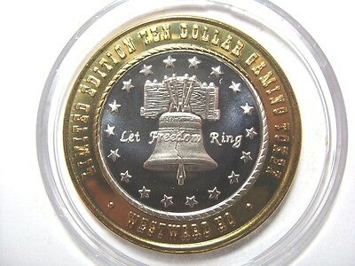 Error Westward Ho Small G Let Freedom Ring $10 Limited Edition .999 Token