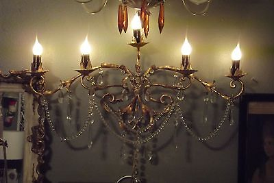 5 arm Gilt Crystal Prism Tole Wall Lamp Sconce Chandelier Vintage Antique 27""