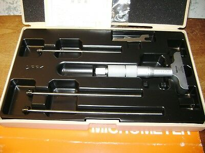 MITUTOYO 0-4 Inch DEPTH MICROMETER SET NO 129-127 w/ CASE