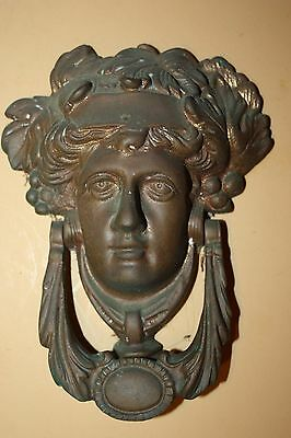 Heavy Antique Large Solid BRASS VICTORIAN LADY DOOR KNOCKER  great patina
