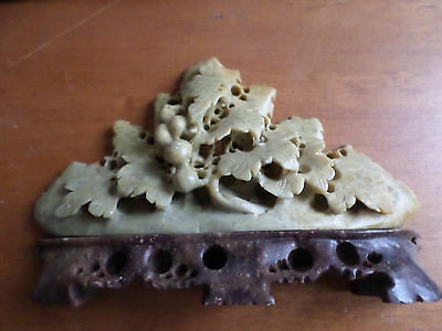 Chinese Soapstone Carving Grapes/Leaves, Mustard Color, Stone Base