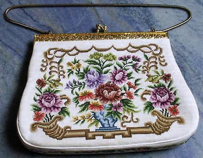 Vintage Fine Floral Petite Point Purse Handbag Jeweled Clasp Chain Satin Lining