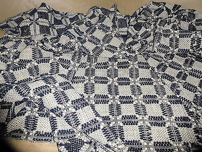 Antique 1800's Blue and White Overshot Coverlet