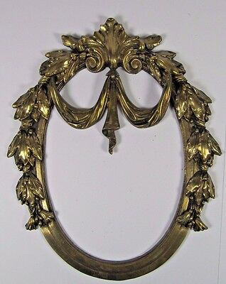 French Bronze Pediment: Antique 19thC Salvaged Furniture Brass Bow Garland Mount