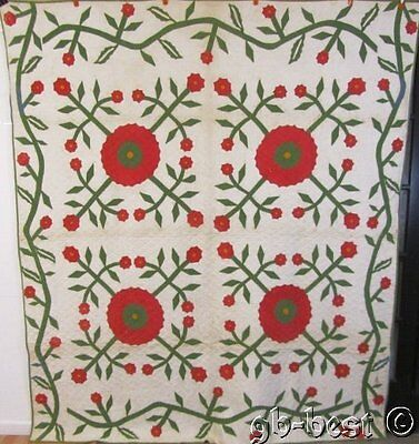 ALBUM ERA c 1850s English Whig Rose APPLIQUE Quilt RED Green RARE Antique