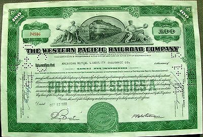 Western Pacific Railroad Company stock certificate 100 shares, 1950's