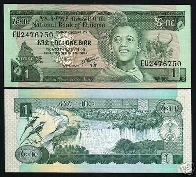 Ethiopia 1 Birr P36 1987 Waterfall Long Horn Unc Africa Currency Money Bill Note