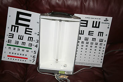 NEW Eye Test Metal Cabinet Illuminator 2 Charts