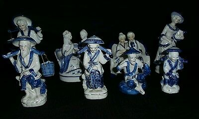 Blue and white porcelain figures ...8 pieces