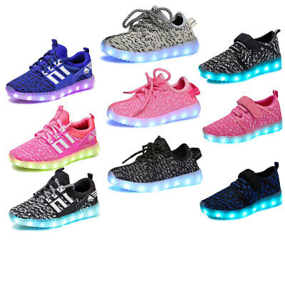 Kids Children 7 LED Luminous Light up Shoes Cool Casual Sportswear Sneaker Party
