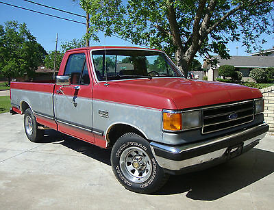 1990 Ford F-150 Lariat XLT 1990 FORD F-150 LARIAT XLT Pickup TRUCK 5.0 V8 Automatic Red Silver