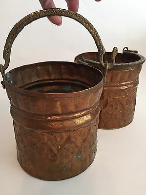 Copper Brass Pail Outdoor Indoor Decor Pencil Paint Brush Plant Holder Set Of 2