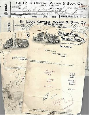 Vintage 6 1928 St Louis Crystal Water & Soda Co Invoices Orders Prices Dates Old
