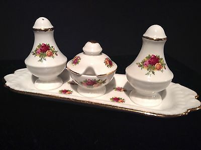 Royal Albert Old Country Roses Rare Lidded Mustard Pot & Cruet Set 1St Quality