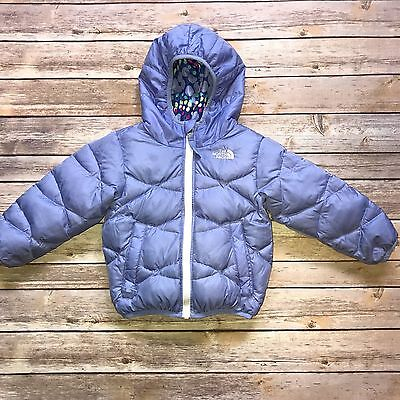 Girls THE NORTH FACE 550 Down Reversible Hooded Puffer Coat - Size 2T - EUC