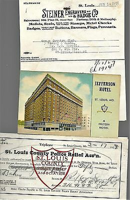 5 St Louis Mo Items 1927 28 Steiner Badge Police Relief Ad Payment Jefferson Htl