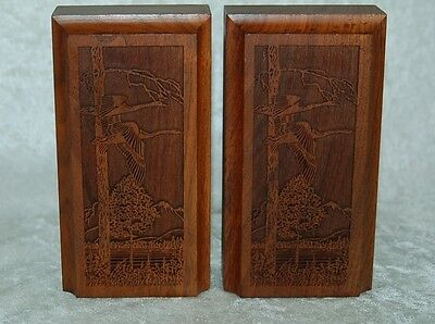 Lasercraft Carved Walnut Bookends, Geese in Trees