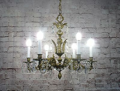 Antique Vintage Chandelier Bronze 6 Light Fixture Ornate w/ Crystals French