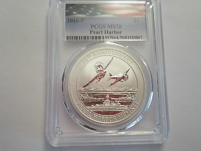 2016 P Tuvalu 1 oz silver Pearl Harbor Commemorative, .9999 fine, PCGS MS 70