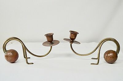Stunning Carl Deffner Germany Brass Copper Candlesticks